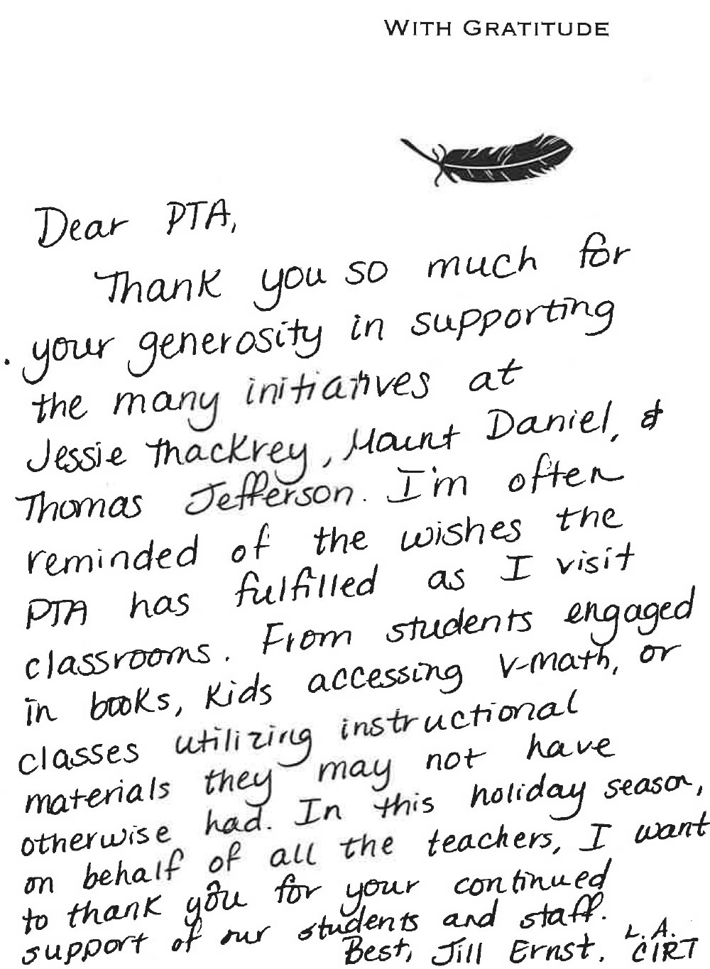 Sample Appreciation Letter For Teachers From Principal
