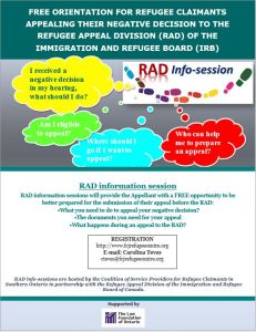 FREE ORIENTATION FOR REFUGEE CLAIMANTS APPEALING THEIR NEGATIVE