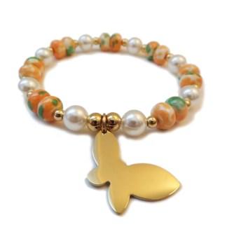 Bracelet Butterfly & Glass Pearl