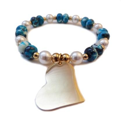 Bracelet Heart & Glass Pearl
