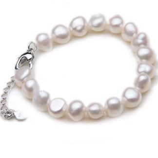 Brass lobster clasp pearl bracelet