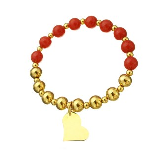 Bracelet red with Glass gold color
