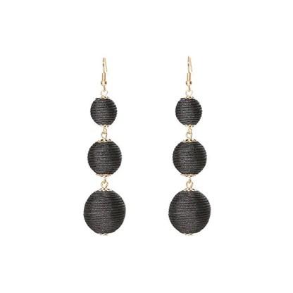 Drop Earring Silk Pearl - Black