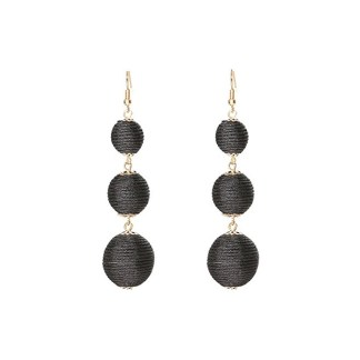 Drop Earring Silk Pearl - Black