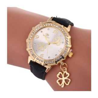 Four leaf clover watch - black