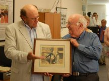 """FALLS CHURCH attorney Lee Farnum Johnson, Jr. (right), presented an original H. Daumier lithograph to Nicholas F. Benton of the Falls Church News-Press during the News-Press' """"Meet the Press"""" open house last week. The lithograph had been a gift to Johnson's father, also a weekly newspaper editor. (News-Press photo)"""