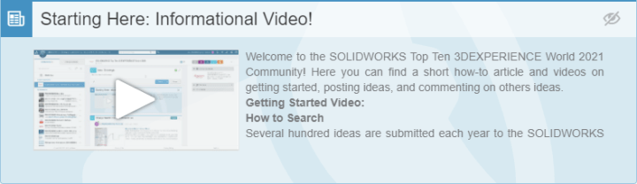 SOLIDWORKS Top Ten Idea Instruction Video link