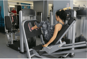Woman inside the fitness gym