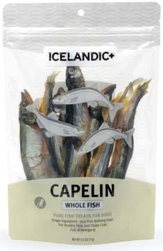Label Front:  ICELANDIC+ CAPELINE WHOLE FISH FOR DOGS, 2.5 oz. Bag