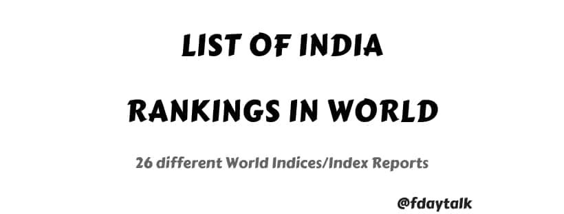 India ranking indexes 2020