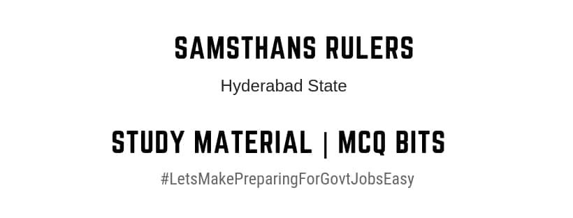 Hyderabad state samsthans rulerfeudatories kings