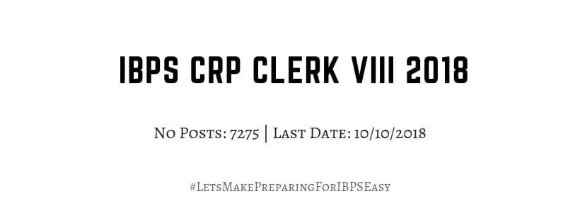 IBPS Clerk VIII Recruitment 2018
