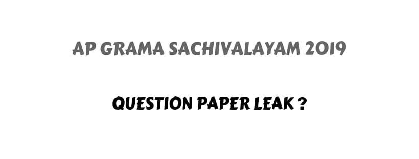 AP Grama Sachivalayam Question Paper Leak
