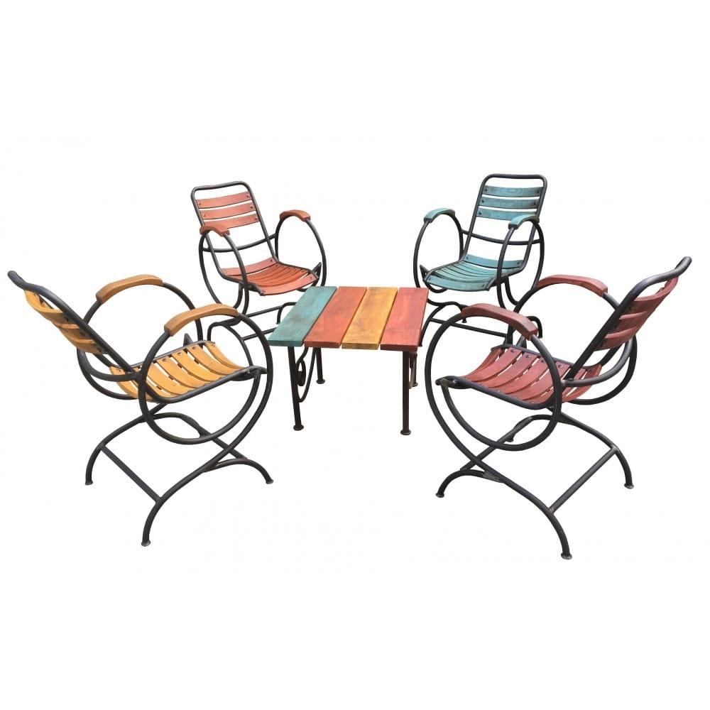 salon de jardin en fer forge et bois teinte vernis exterieur mobilier de jardin de qualite avec finition originale et coloree