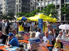 FDP Wahlkampfstand an der Hauptwache