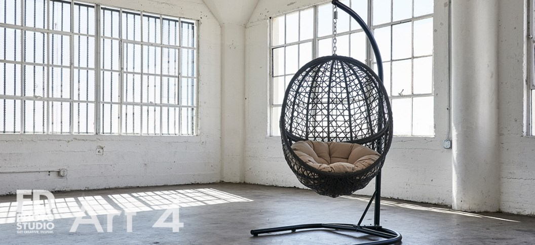 egg hanging chair in natural light studio