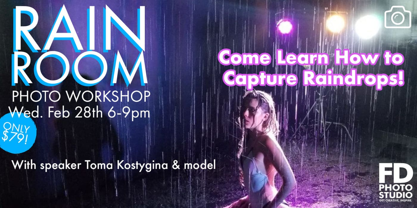 The Rain Room Workshop: Come Learn how to Light and Capture Raindrops -Workshop, Studio Photography, rain room, photography, modeling, Model, Los Angeles, Class, beginner class, aqua stage