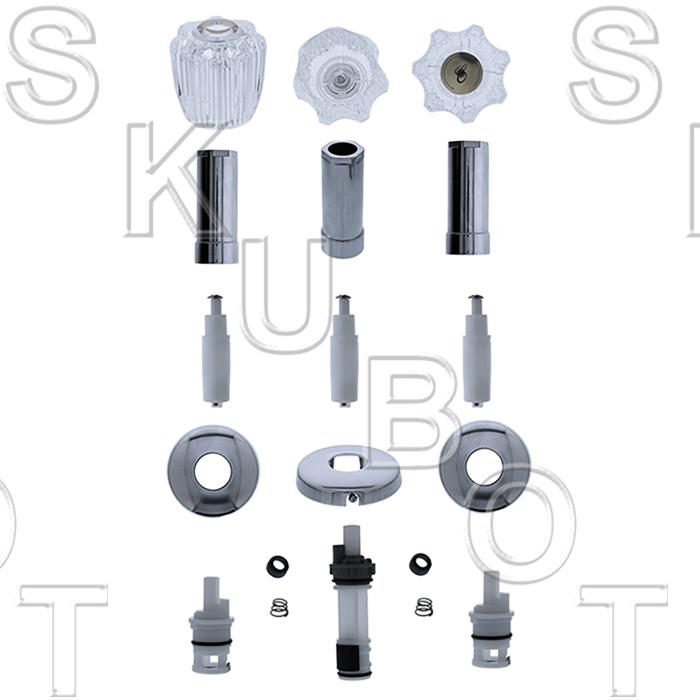 delta acrylic handle 3 valve tub shower kit w sliding flnges