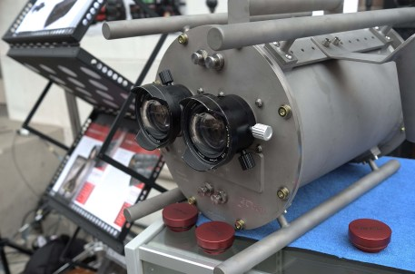 Pawel Achtel's lightweight underwater 3D housing for Red EPICs using Nikonos lenses at Band Pro Booth