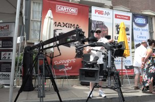 Cartoni JIBO holds cameras upright, sideways or underslung--seen here with Cartoni Spinhead