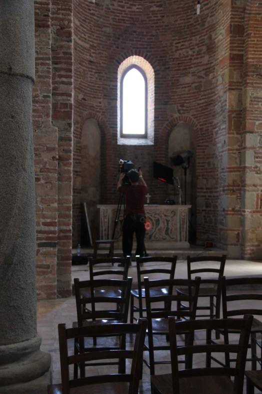 Student cinematographer Kanter Constandse (NARAFI-LUCA) prepping the camera for the shoot in the Abbey of SS Pietro e Paolo d'Agrò.