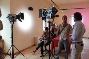 Guest Cinematographer Daniel Kedem, student director Talya Kadosh (Tel Aviv University) and ARRI ITALIA General manager Antonio Cazzaniga during a technical workshop