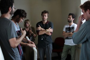Guest Cinematographer Guy Raz (on the left) attending a CineCampus lighting exercise