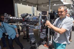 Ronford-Baker fully-rigged Atlas 7 modular underslung, overslung head at AbelCine. Photo: Forman