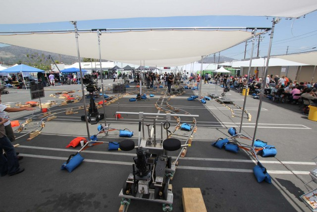Fisher dollies and track at the annual J. L. Fisher Open House at company headquarters in Burbank.  Photo: Seth Emmons