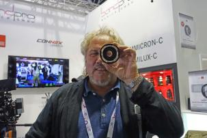 IB/E Optic's Klaus Eckerl with 35mm to Full Frame expander at Band Pro