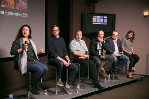 Panel: Filmed in Chicago – Sense8 (L to R) Demetria Diamantopolos, Keith Hueffmeier, Tom Zimmerman, Scott Thiele, Kevin Boyd, Kat Thomas