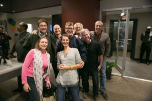 Kari Hess with Tom Fletcher and colleagues.