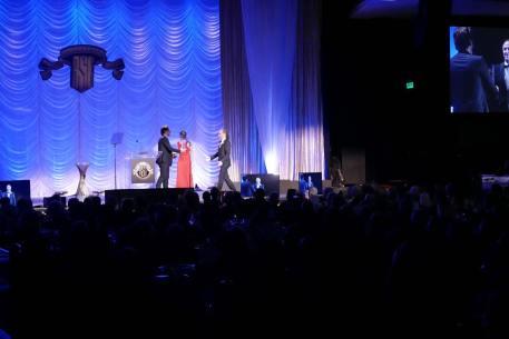 Javier Bardem presenting best theatrical feature award to Emmanuel Lubezki, ASC, AMC