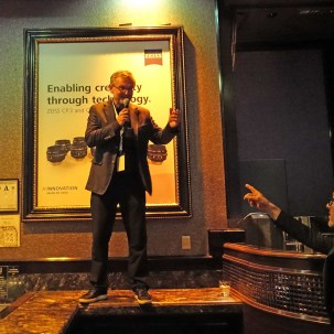 Winfried Scherle climbed on top of bar to announce CP.3 lenses at Sunday party