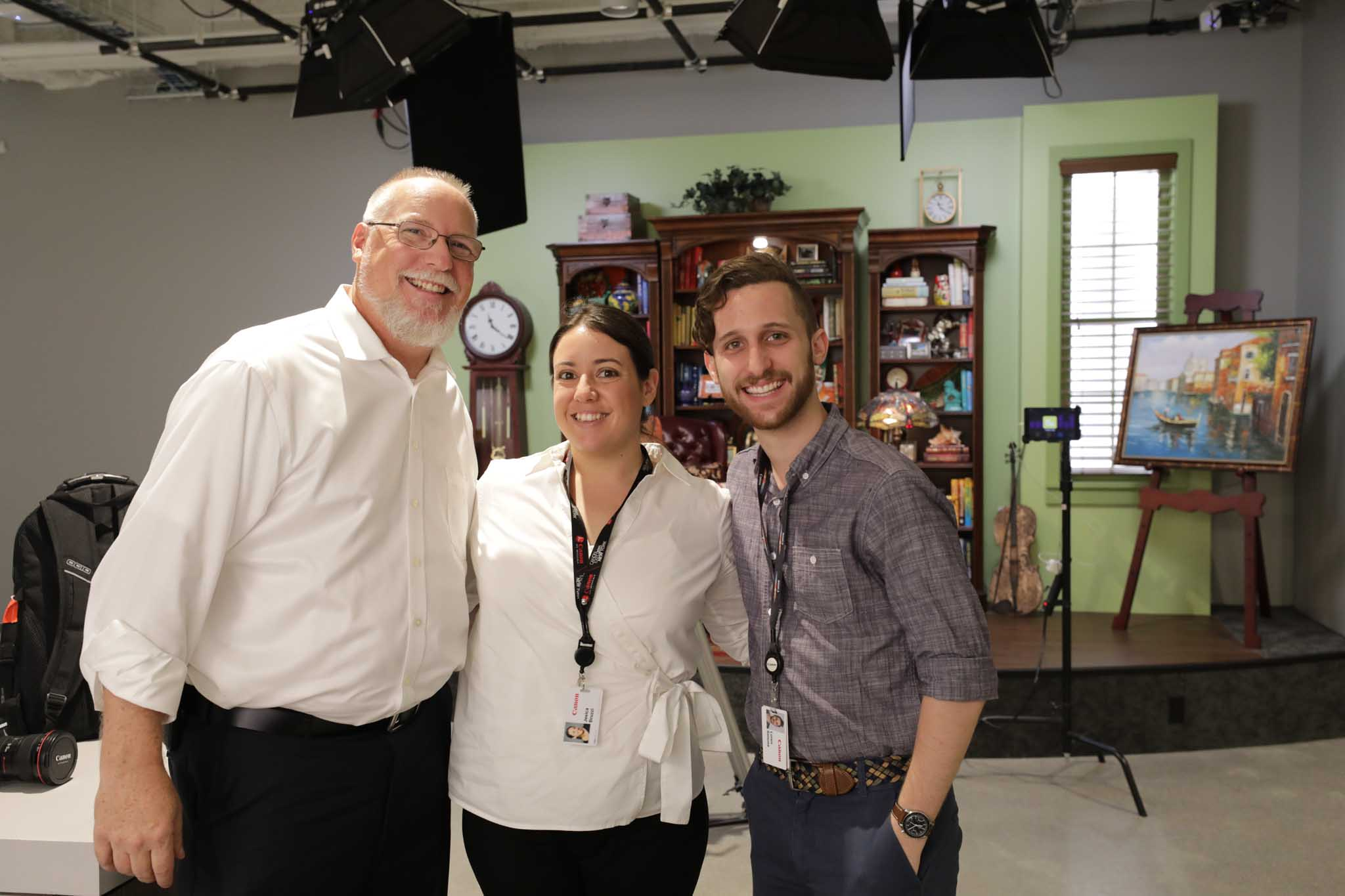 Scott Heath (Rancho PR for Canon), Jesica L Bruzzi (Manager Marketing), Loren Simons (Canon Senior Engineer).