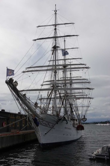 """The Norwegian 3-masted Tall Ship """"Christian Radich."""" Star of the 1958 Cinemiracle film """"Windjammer."""" Cinemiracle was intended to compete with Cinerama. But """"Windjammer"""" was the only film released in that format."""