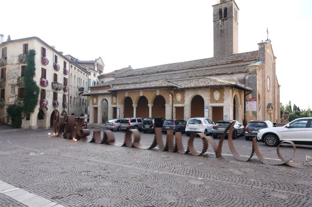 In nearby Asolo, life is a movie. Giovanni Casellato created this homage to cinema in the town square of Asolo in June 2017.