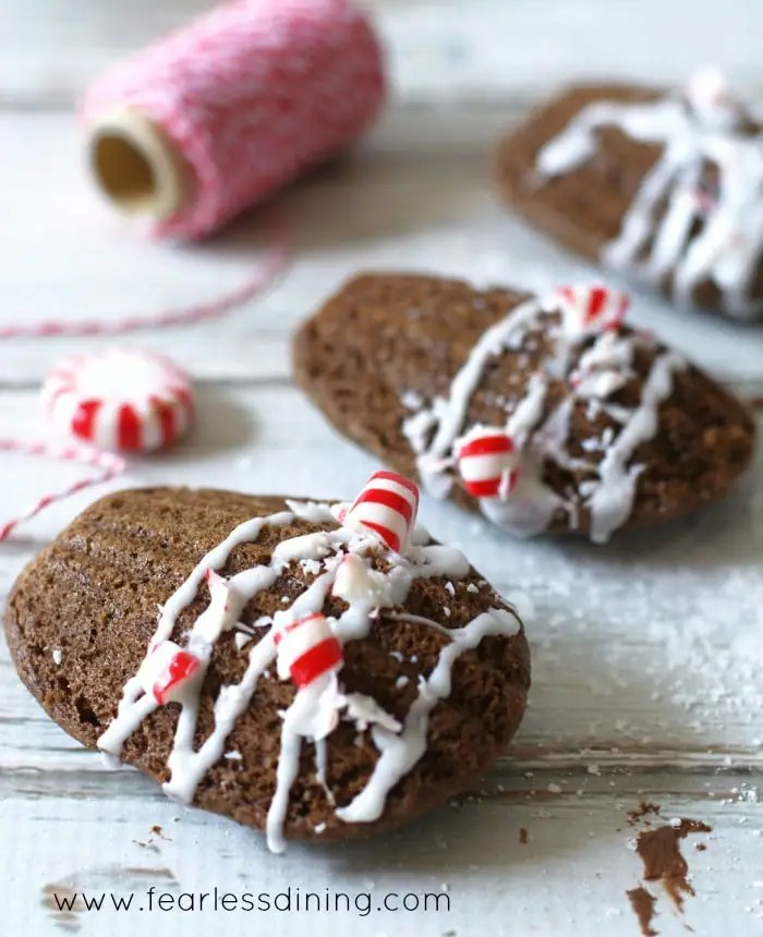 Gluten Free Chocolate Madeleines with Crushed Candy Cane