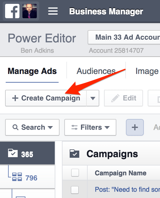 Create an Ad Campaign in the Power Editor