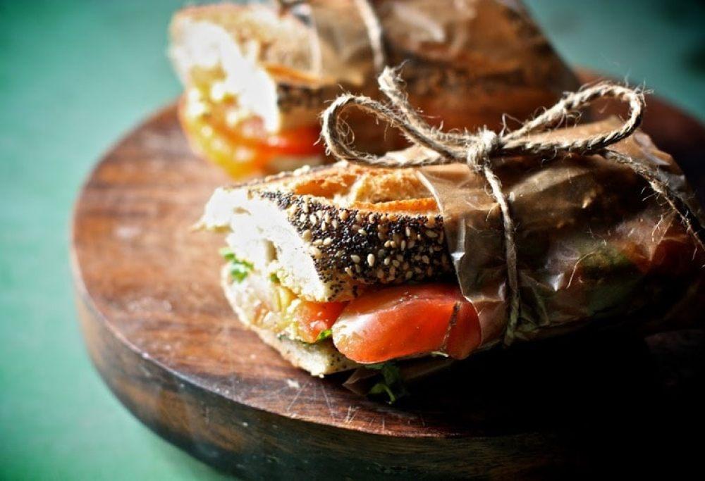 Heirloom Tomato, Basil and Arugula Sandwich