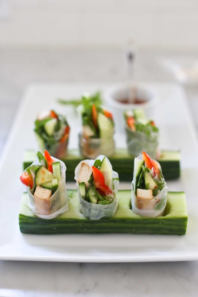 Spring Rolls with Tofu, Avocado, Radish and Mint