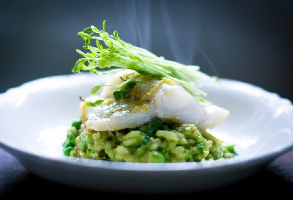 Spring Pea Risotto with Halibut & Spanish Chorizo