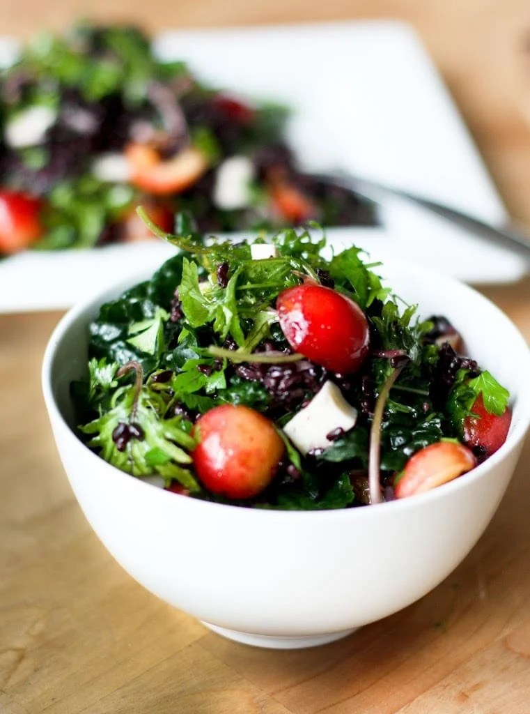 Summer Cherry Salad with Black Rice, Kale, Haloumi and Mint
