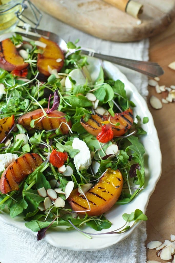 Grilled Peach and Arugula Salad with White Balsamic Vinaigrette