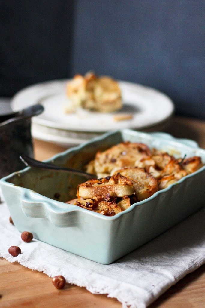 Baked French Toast with Caramelized Pears and Hazelnuts