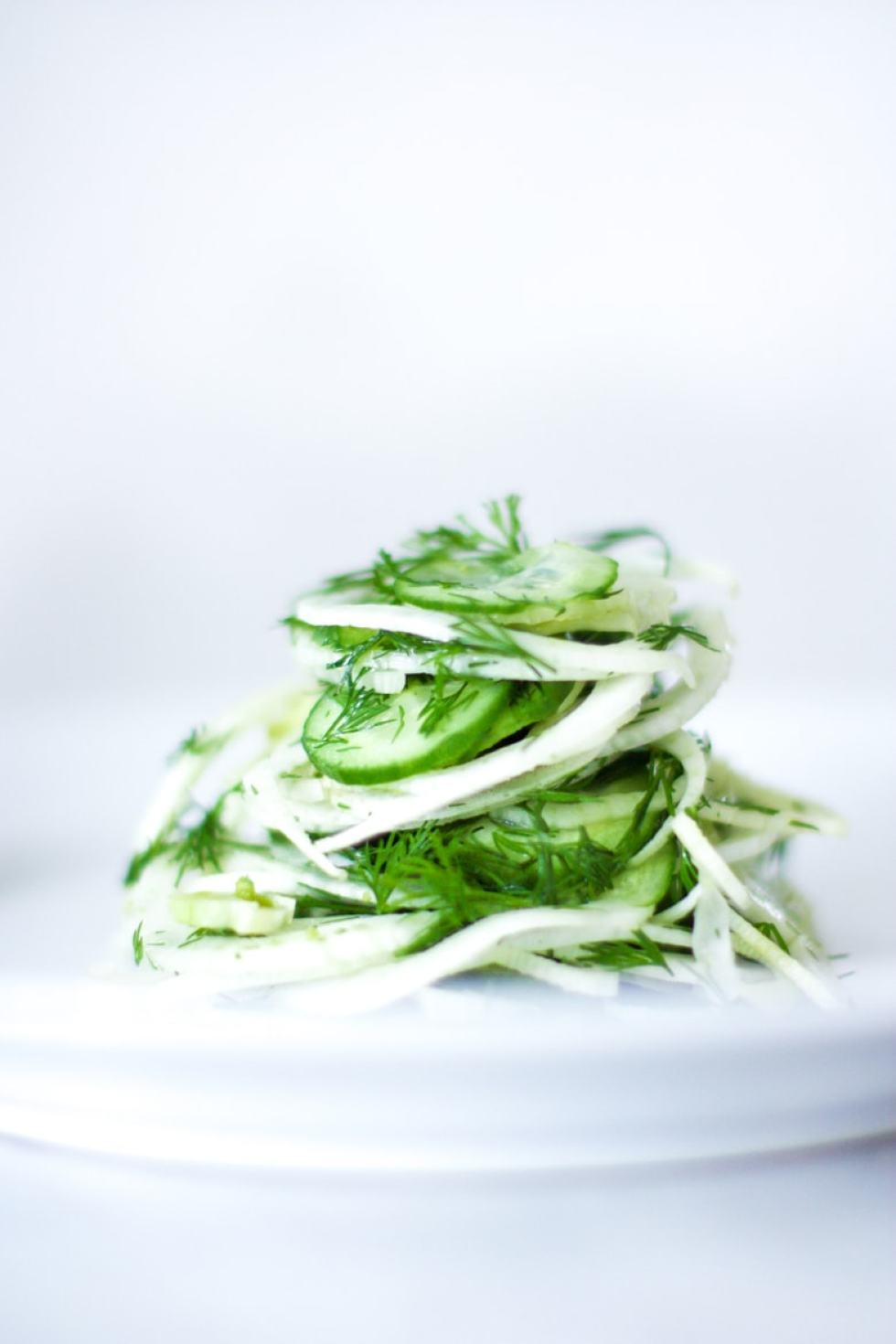 Simple, delicious Shaved Fennel Salad with dill, cucumber and Meyer Lemon. Refreshing and light, this pairs very well with simple roasted salmon. | www.feastingathome.com # fennel #fennelsalad