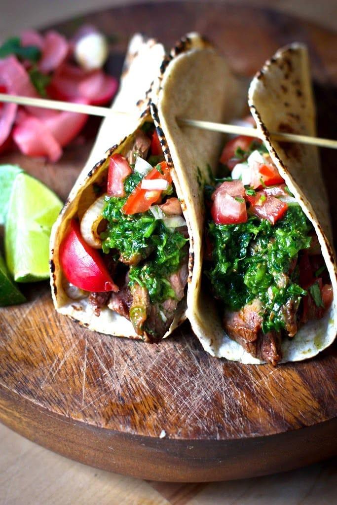 Grilled Steak Tacos with Chimichurri Sauce | www.feastingathome.com