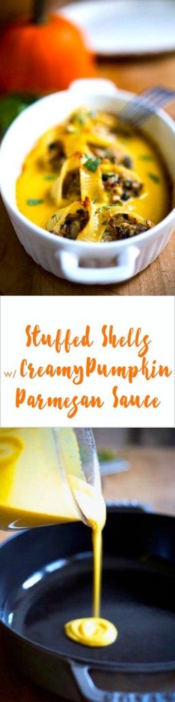 A delicious fall recipe for Stuffed Shells with a Creamy Pumpkin Parmesan Sauce...so Tasty! | www.feastingathome.com