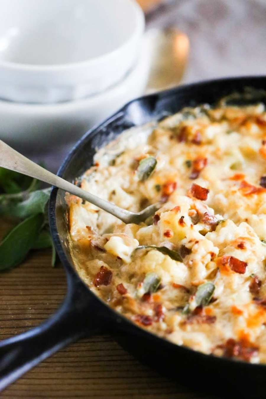 Cauliflower Gratin with Garlic and Sage + 15 delicious Thanksgiving SIDE DISHES that will turn your dinner into a feast! | www.feastingathome.com