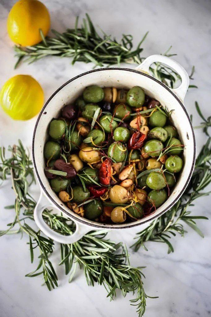 Warm Olives with Rosemary, Garlic and Almonds